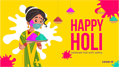 Celebrate Holi festival with organic colors banner design template