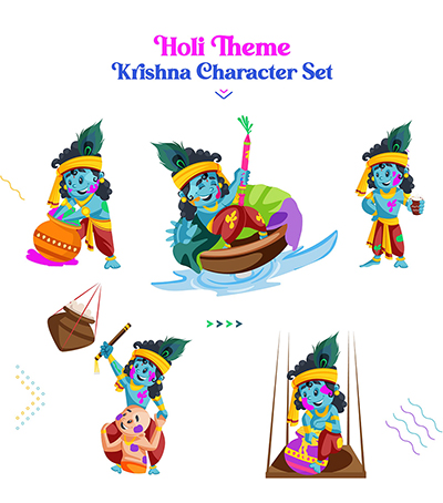 Colorful festival of Holi with Krishna vector character set