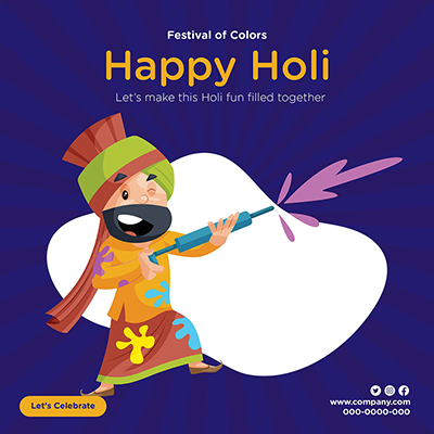 Festival of colors with happy Holi banner template