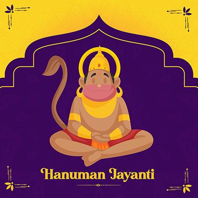 Hanuman Jayanti banner design lord hanuman is doing meditation