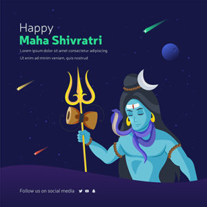 Happy Maha Shivratri banner design template. Lord Shiva with a trident 01 small