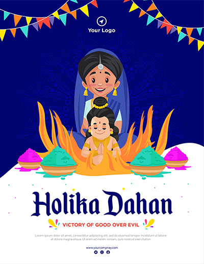 Holika Dahan Indian festival banner design template