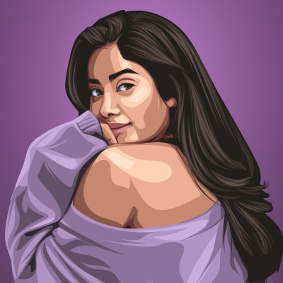 Janhvi Kapoor Indian Model And Actress Vector Illustration