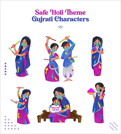 Safe Holi festival with Gujarati people vector character set