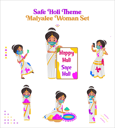 Safe Holi festival with Indian Malayalee woman characters set