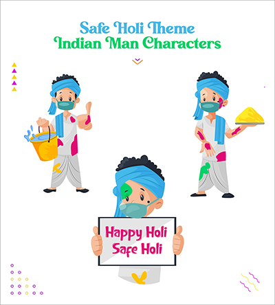 Safe Holi festival with Indian man vector character set