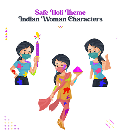 Safe Holi festival with Indian woman vector characters set