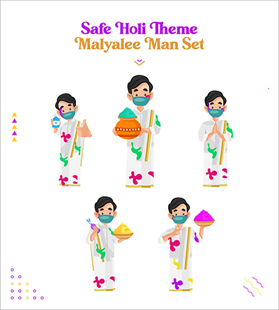 Safe Holi festival with Malayalee man vector characters set