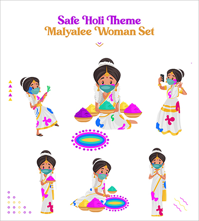 Safe Holi festival with Malayalee woman vector character set