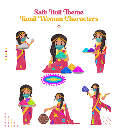 Safe Holi festival with Tamil woman vector character set