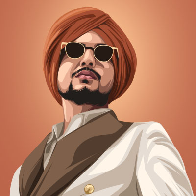 Amar Sehmbi Punjabi Singer Portrait Vector Illustration
