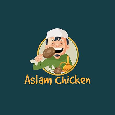 Aslam Chicken Vector Mascot Logo Template
