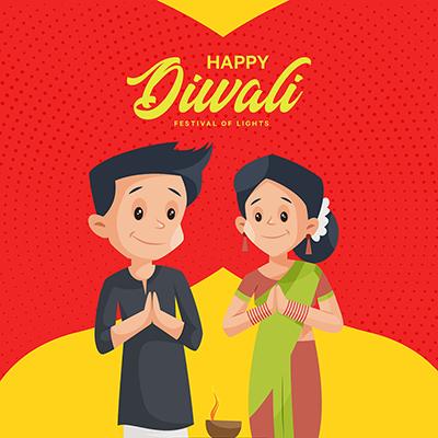 Banner design of happy Diwali the festival of lights