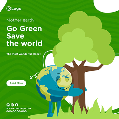 Banner design of mother earth go green and save the world -05 small