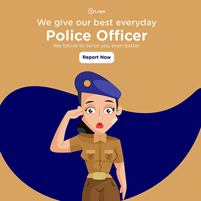 Banner design of police officer give our best every day