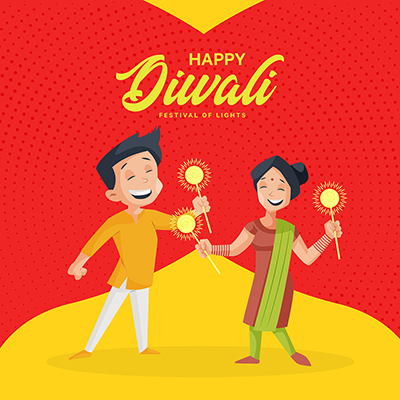 Banner design template of happy Diwali the festival of lights