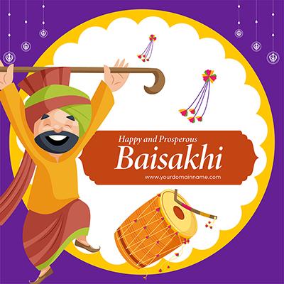 Banner of happy Baisakhi day festival celebrations template