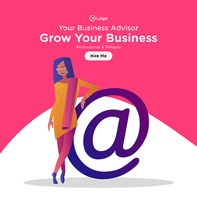 Grow your business with business advisor banner template