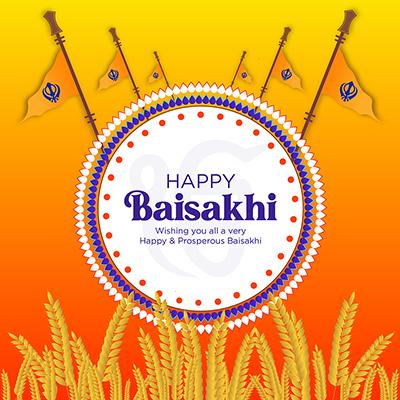 Celebration of Indian festival Baisakhi with banner design