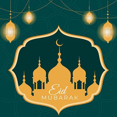 Celebration of Muslim festival Eid Mubarak banner design template