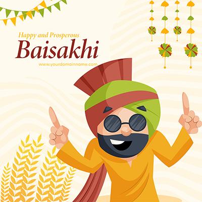 Celebration of Punjabi festival Baisakhi with banner design