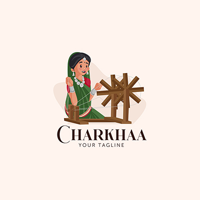 Charkhaa Indian Vector Mascot Logo Template