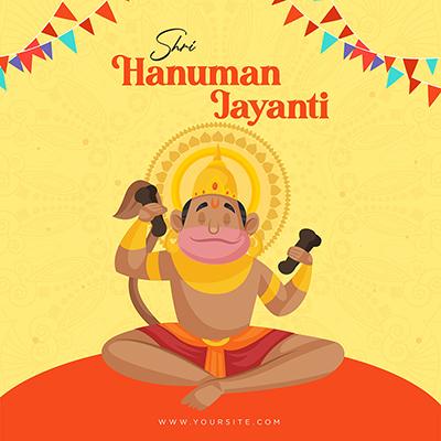 Creative Hanuman Jayanti banner design template