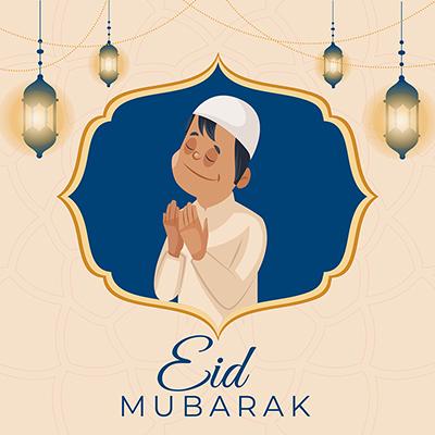 Eid Mubarak Islamic greeting style banner design template