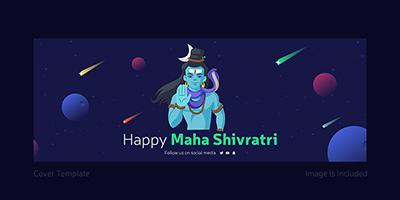 Facebook coverpage template design of happy Maha Shivratri
