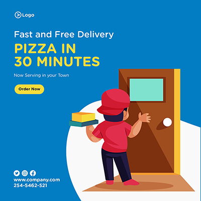 Fast and free pizza delivery service banner