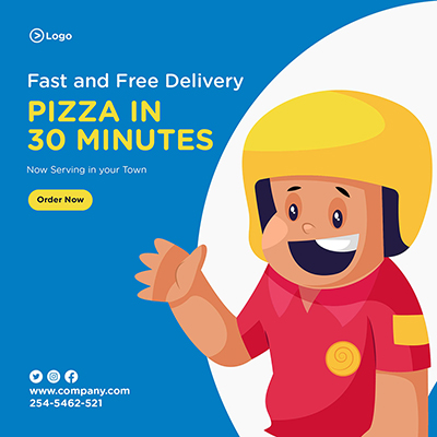 Fast and free pizza delivery service banner design