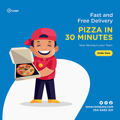 Fast and free pizza delivery service banner design template