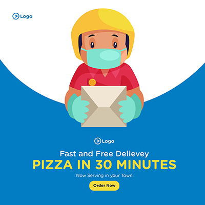 Fast and free pizza delivery service banner template