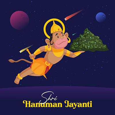 Shri Hanuman Jayanti banner lord Hanuman with a mountain of sanjivani booti