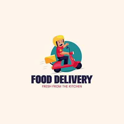 Food Delivery Vector Mascot Logo Template