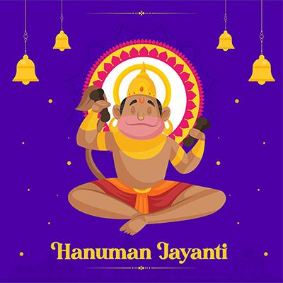 Hanuman Jayanti banner design with lord hanuman doing chanting
