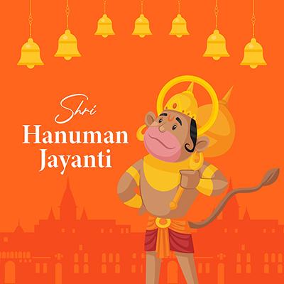 Hanuman Jayanti flat banner design template