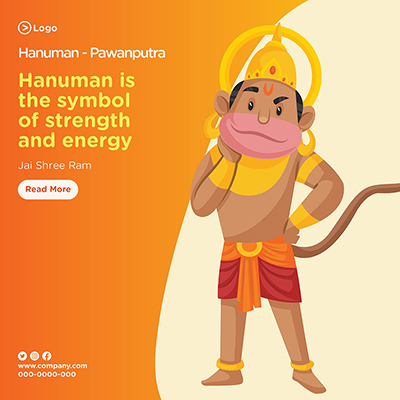 Hanuman is the symbol of strength and energy banner design