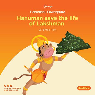 Social media banner design  Hanuman save the life of Lakshman