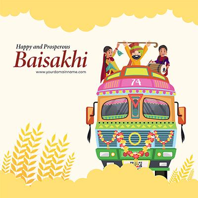 Happy Baisakhi celebration banner design template