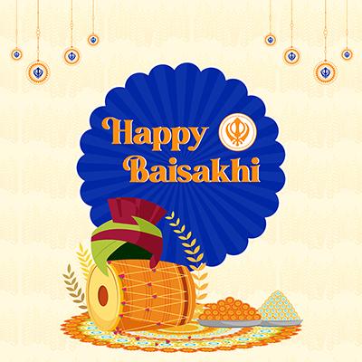 Happy Baisakhi banner design illustration