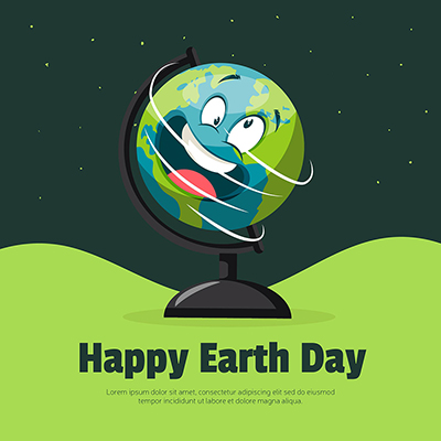 Happy Earth day with safe earth save earth banner design -12 small