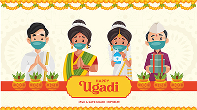 Happy Ugadi traditional festival with banner design template