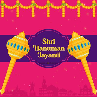 Hindu religious festival Hanuman jayanti banner design