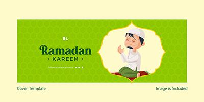 Islamic Ramadan Kareem on decorative Facebook cover design