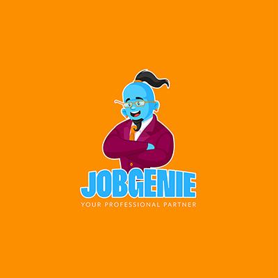 Professional Job Genie Vector Mascot Logo Template