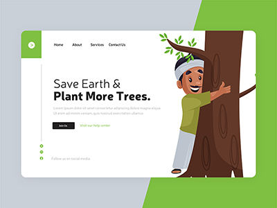 Landing page for save earth and plant more tree