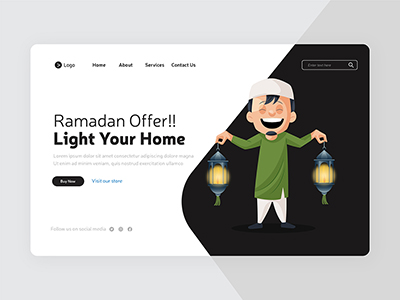 Light your home on Ramadan offer with Landing page design