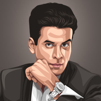 Bollywood Actor Manoj Bajpai Portrait Vector Illustration
