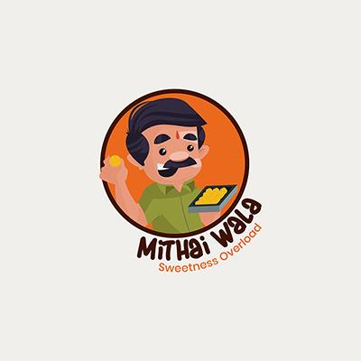 Mithai Wala Indian Vector Mascot Logo Template